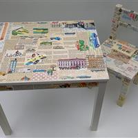 """Kindertisch mit Kinderstuhl """"Straßenverkehr""""   NEU!"""